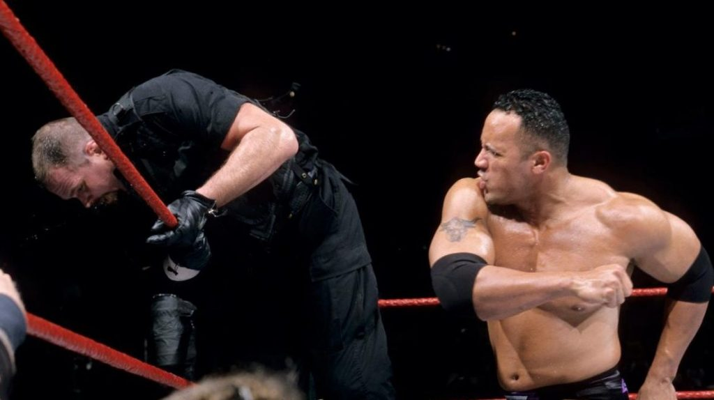 The Rock on his way to victory in the 2000 Royal Rumble